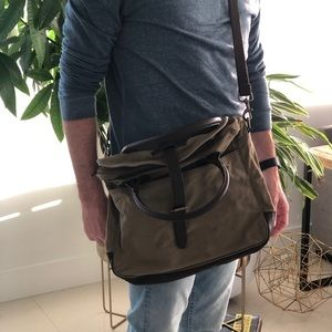 Green cotton canvas backpack